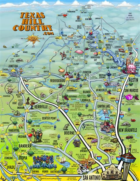 texas hill country road trip map visitor attractions in texas by county