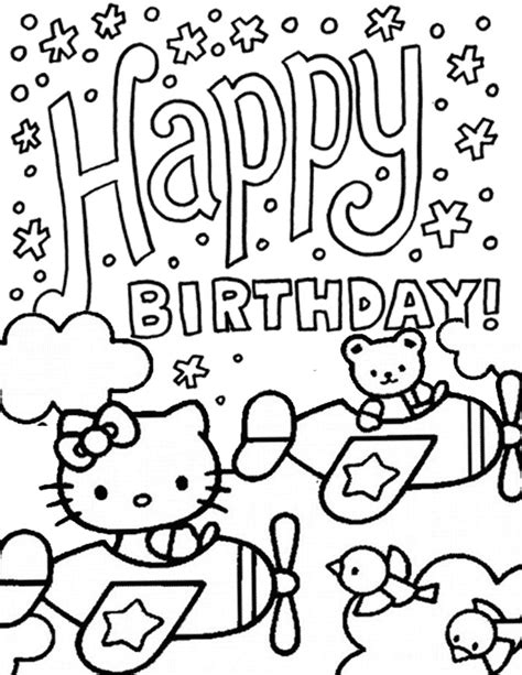 hello kitty and bear driving plane birthday coloring page
