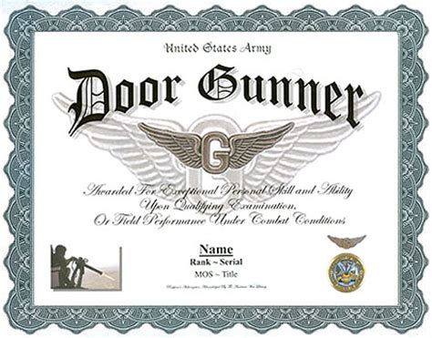 Door Gunner Mos us army door gunner professional display recognition