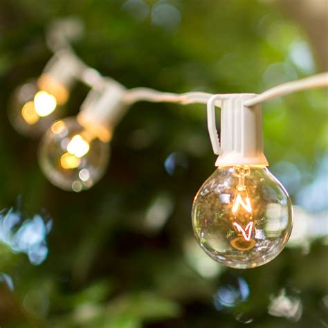 Globe String Lights 2 Inch E17 Bulbs 25 Foot White Wire Clear Globe String Lights White Wire