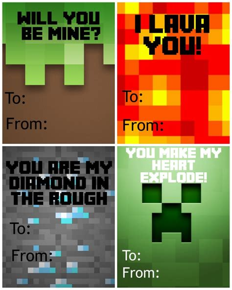minecraft valentines day card free printable minecraft s day cards not