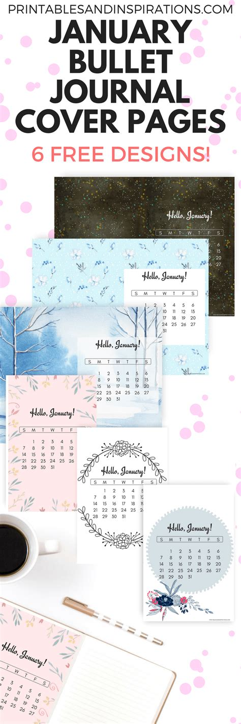 design calendar journal free printable january bullet journal cover designs with