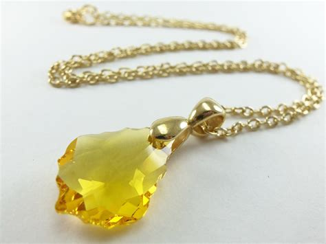 yellow pendant necklace gold jewelry yellow by jalycme