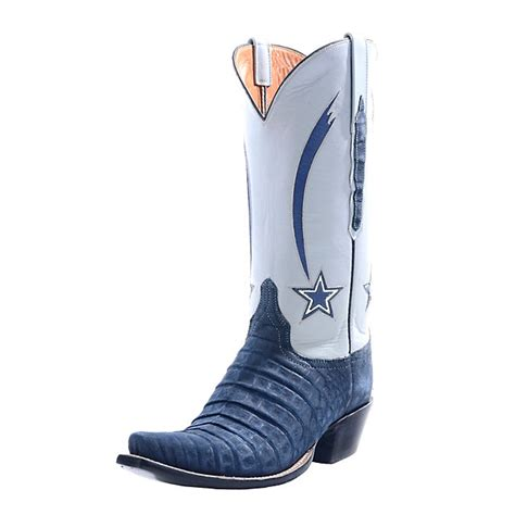 dallas cowboys lucchese womens navy suede caiman crocodile