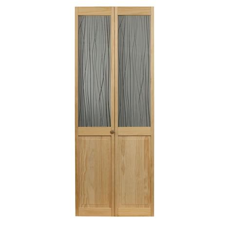 Bi Fold Doors Glass Panels Pinecroft 24 In X 80 In Grass Glass Raised Panel Pine Interior Bi Fold Door 875420 The