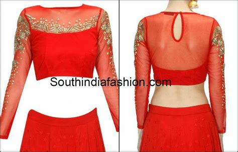 net blouse pattern 2015 trendy full sleeves blouse south india fashion