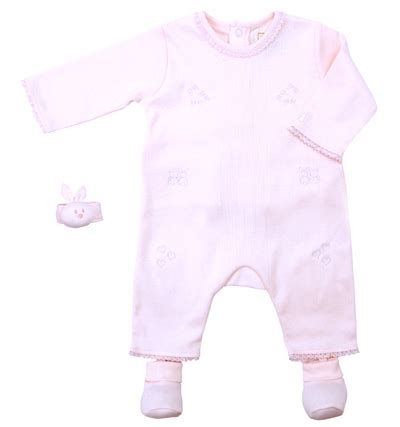 Wrist Rattle And Booties Set emile et sale pink romper set with bootees and wrist
