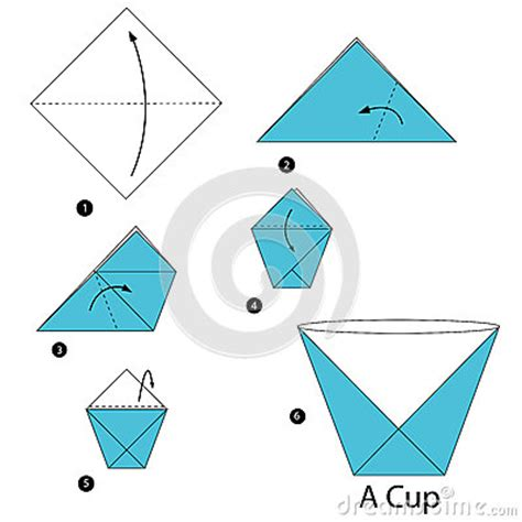 Make A Paper Cup - step by step how to make origami a cup stock
