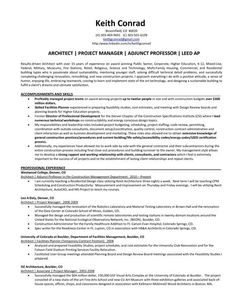 Mba Project Manager Resume by Architectural Project Manager Resume Size Of