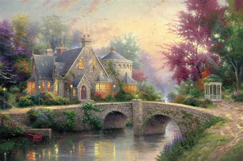 cottage paintings by kinkade llight manor kinkade painting bridge