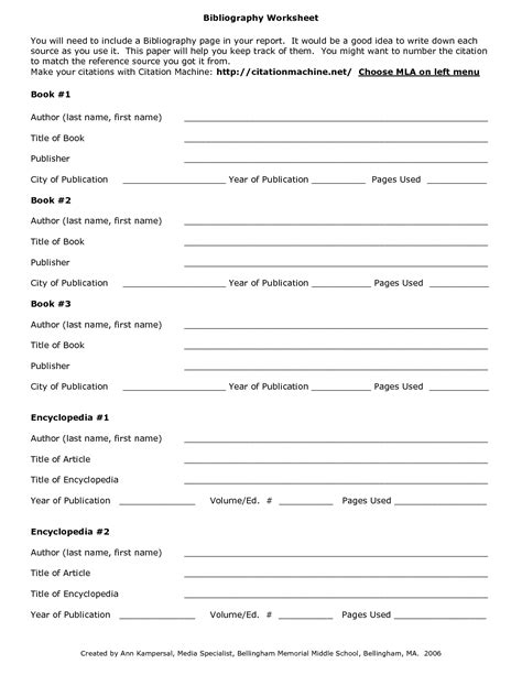 format worksheet bibliography worksheets for middle school bibliography