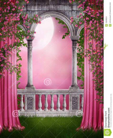 Garden Of Pink pink garden with curtains stock images image 19008834