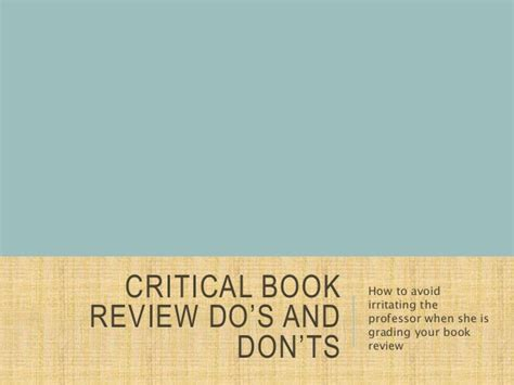 10 Critical Donts To Avoid When Arguing by Critical Book Review Do S And Don Ts