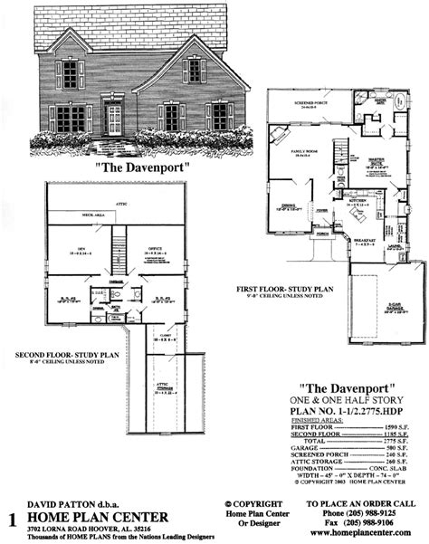 one and a half story house plans home plan center 1 1 2 2775 davenport