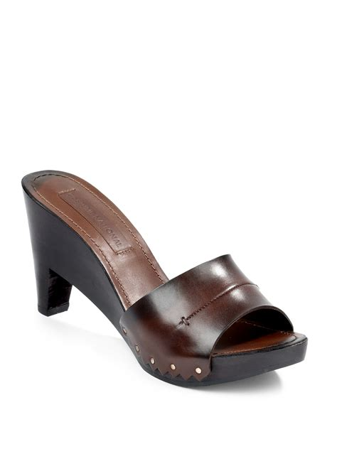 clog sandals for costume national stud leather wood clog sandals in brown