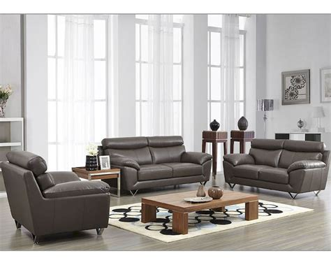 Grey Leather Set by Modern Leather Sofa Set In Grey Color Esf8049set
