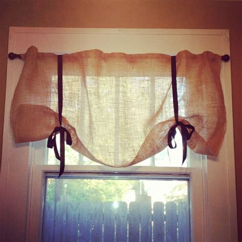 burlap curtains pinterest no sew burlap curtains just add hot glue and ribbon