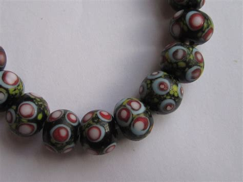 bead world palatine lwork glass matte black with turquoise white yellow