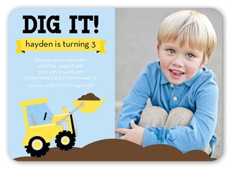 We Dig Trucks 5x7 Invitation Card   Birthday Invitations