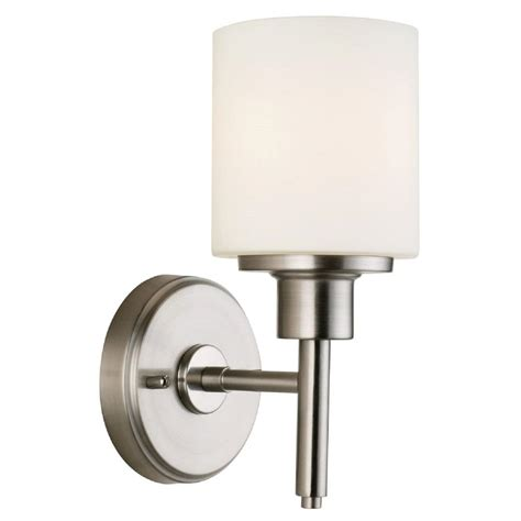 Indoor Wall Mount Light Fixtures Design House 1 Light Satin Nickel Indoor Wall Mount 556183 The Home Depot