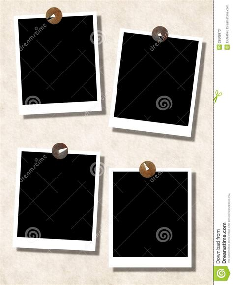 blank photo templates with push pins on wall stock photos