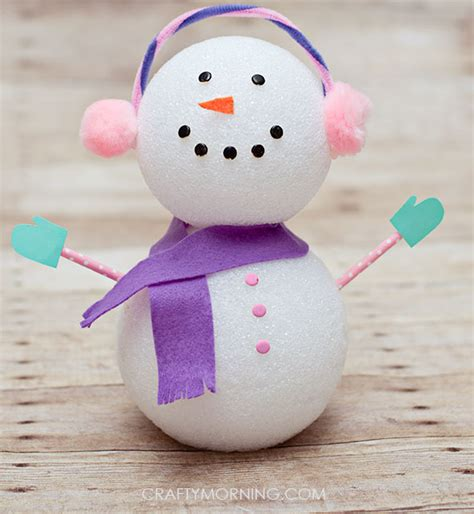 styrofoam crafts for foam winter snowman craft for crafty morning