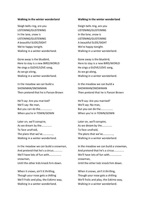 printable lyrics for walking in a winter wonderland song worksheet walking in the winter wonderland