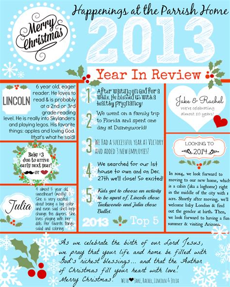 Year In Review Card Template by Family Newsletter Exles Wallpaper