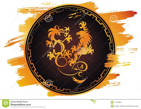 dragon vs tiger fight stock vector image of blazon