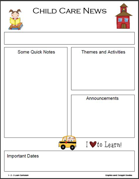 1 2 3 Learn Curriculum Monthly Newsletter Templates Daycare Newsletter Templates