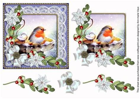 Free Decoupage Downloads - robin white poinsettia decoupage sheet