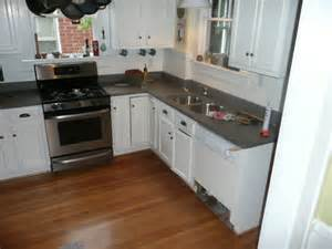 Remodeled Kitchens With White Cabinets We Are The Guinea Pigs New Concrete Countertops For Our