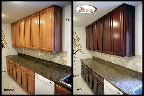 Restain Kitchen Cabinets Restaining Kitchen Cabinets Before And After Alkamedia