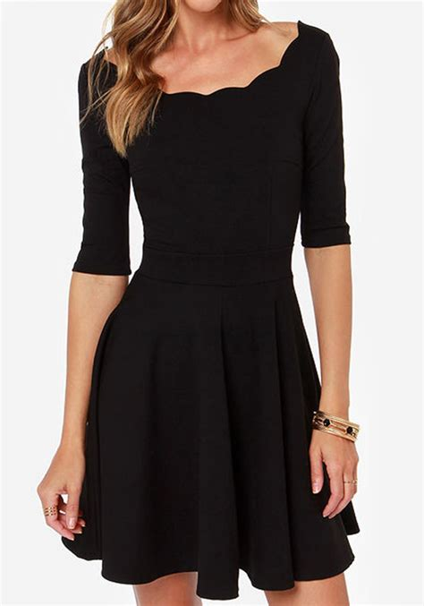 Sleeve Plain Dress black plain wavy edge neckline half sleeve draped knit