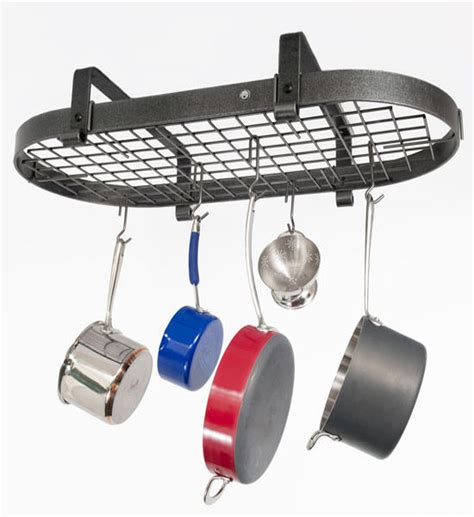 low ceiling oval pot rack in hanging pot racks