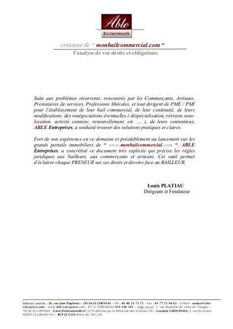 lettre d intention location local commercial