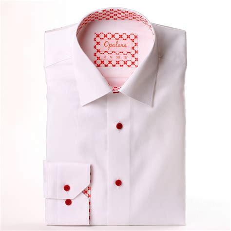 pattern shirt with white collar white shirt with red pattern collar and cuffs