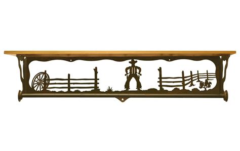 34 quot cowboy metal towel bar with pine wood top wall