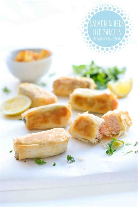 lade a filo salmon and herb filo parcels one handed cooks