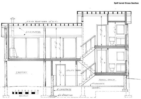modern split level house plans split level stairs cross section house plan modern superb