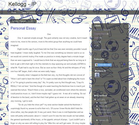 Kellogg Mba Essay Exles by Promoting Peer Assessment Using Blogs In Comm Arts