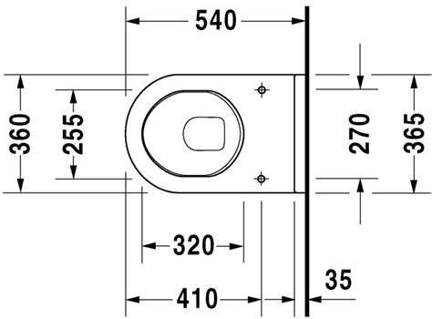 bidet zeichnung starck 3 toilet wall mounted 220009 duravit