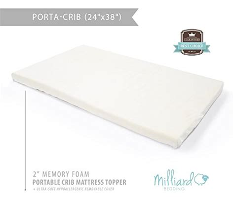 Portable Crib Mattress Pad Save 12 Milliard 2 Quot Ventilated Memory Foam Portable Crib Mattress Topper With Waterproof