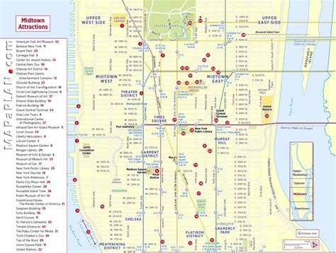 manhattan map of attractions midtown manhattan sightseeing trip planner new york map