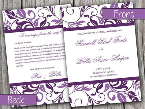 half fold wedding program template half fold wedding program template by