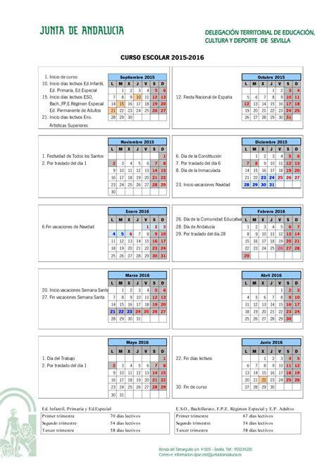 calendario escolar andaluc 237 a y sevilla 2015 2016 papanoara