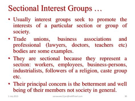exles of sectional interest groups class x political science 5 popular struggles and movements