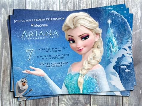printable birthday cards elsa personalized birthday invitation by edesigns studio
