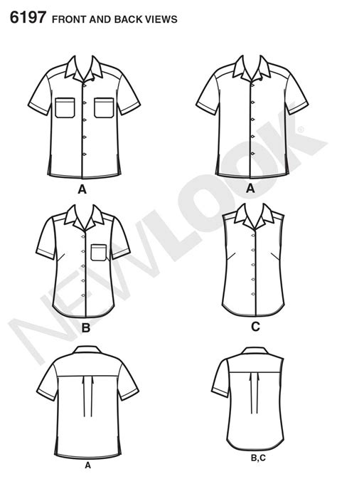 shirt pattern to sew new look 6197 misses and mens shirt