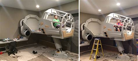 At At Bed by Builds His A Wars Millennium Falcon Bed